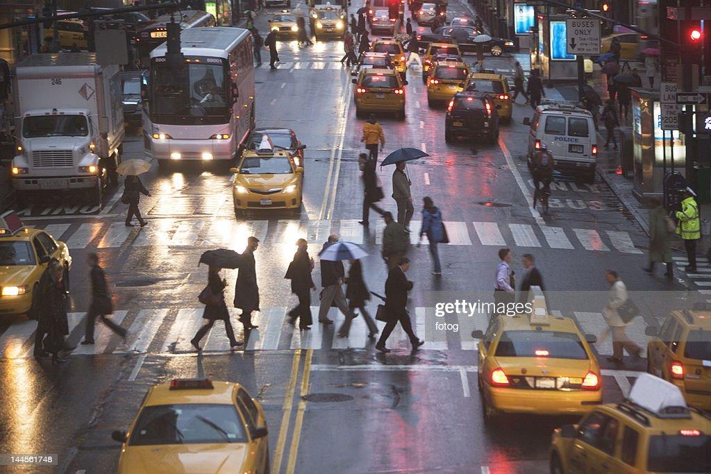 USA, New York state, New York city, pedestrians on zebra crossing
