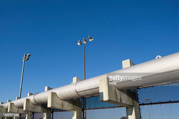USA, New York State, New York City, Pipes of water treatment plant
