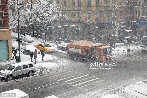 USA, New York State, New York City, Snowplow on street