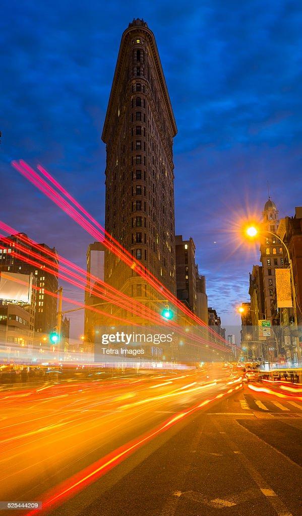 USA, New York State, New York City, Traffic at night, Flatiron building in background