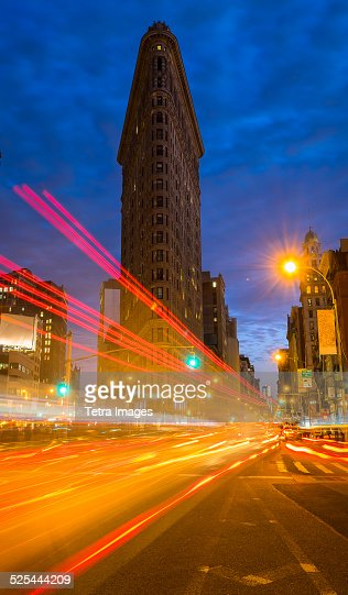 USA, New York State, New York City, Traffic at night, Flatiron building in background