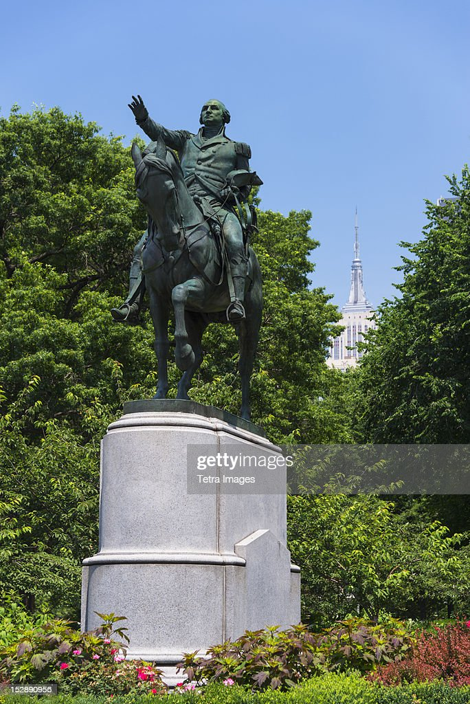 USA, New York State, New York City, Union Square Park, Statue of George Washington