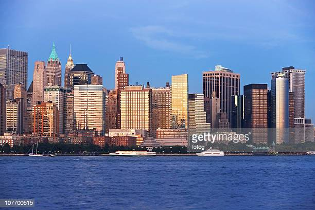 USA, New York State, New York City, View of Hudson River and Battery Park