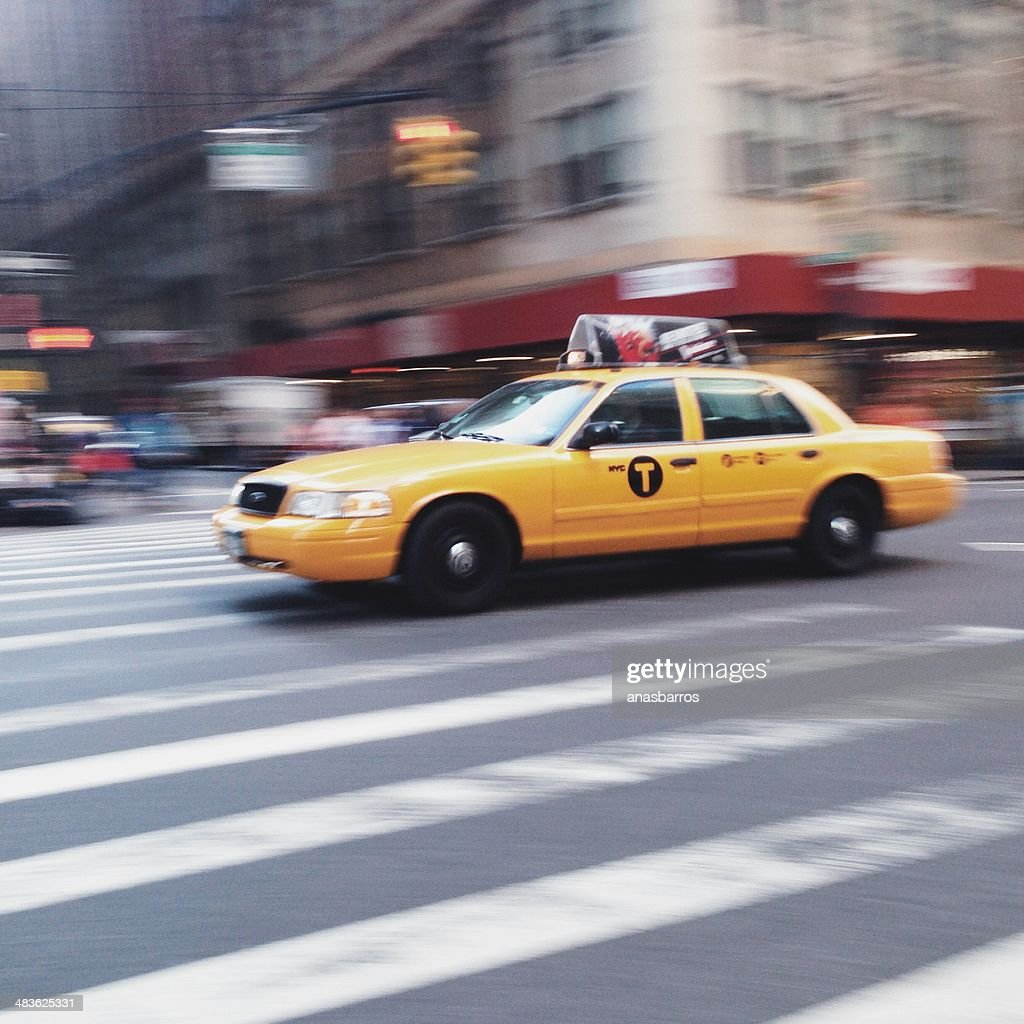 USA, New York State, New York City, Yellow cab on street
