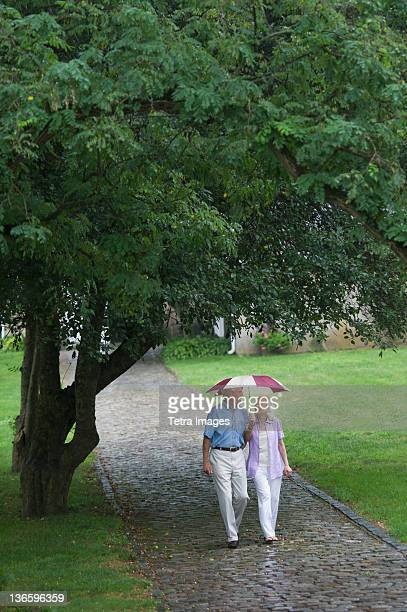 USA, New York State, Old Westbury, Senior couple walking in park