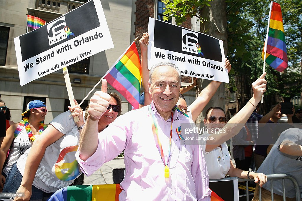 New York State Senator Chuck Schumer attends New York City Pride 2016 March at Pier 26 on June 26, 2016 in New York City.