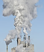 USA, New York State, Ticonderoga, Smoke stacks emitting smoke