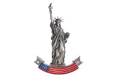 New York Statue of Liberty refrigerator magnet isolated on white background. Magnets are popular souvenirs