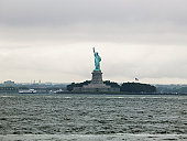 USA, New York, Statue Of Liberty seen from Red Hook Brooklyn