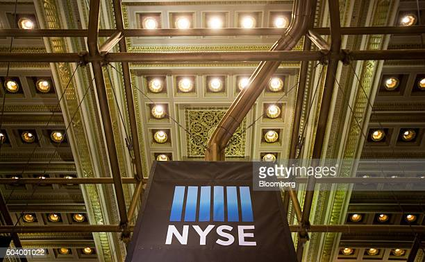 New York Stock Exchange signage is displayed inside the exchange in New York US on Friday Jan 8 2016 The Standard Poor's 500 Index fluctuated near a...