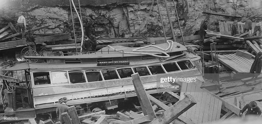 New York Subway Cave-in with demolished trolley or train