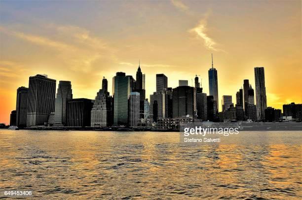 USA, New York, sunset view of Manhattan from Brooklyn