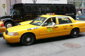 New York Taxi at the New York City landmarks at NYC Landmarks in New York New York