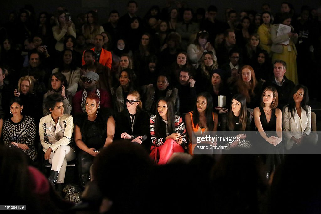 New York television personality Darlene Rodriguez, actress Angela Bassett ,Angela Simmons, DJ Kiss, actors Shanae Grimes, Torrey DeVitto and Nichole Galicia attend the Tracy Reese Fall 2013 fashion show with TRESemme during Mercedes-Benz Fashion Week at The Studio at Lincoln Center on February 10, 2013 in New York City.