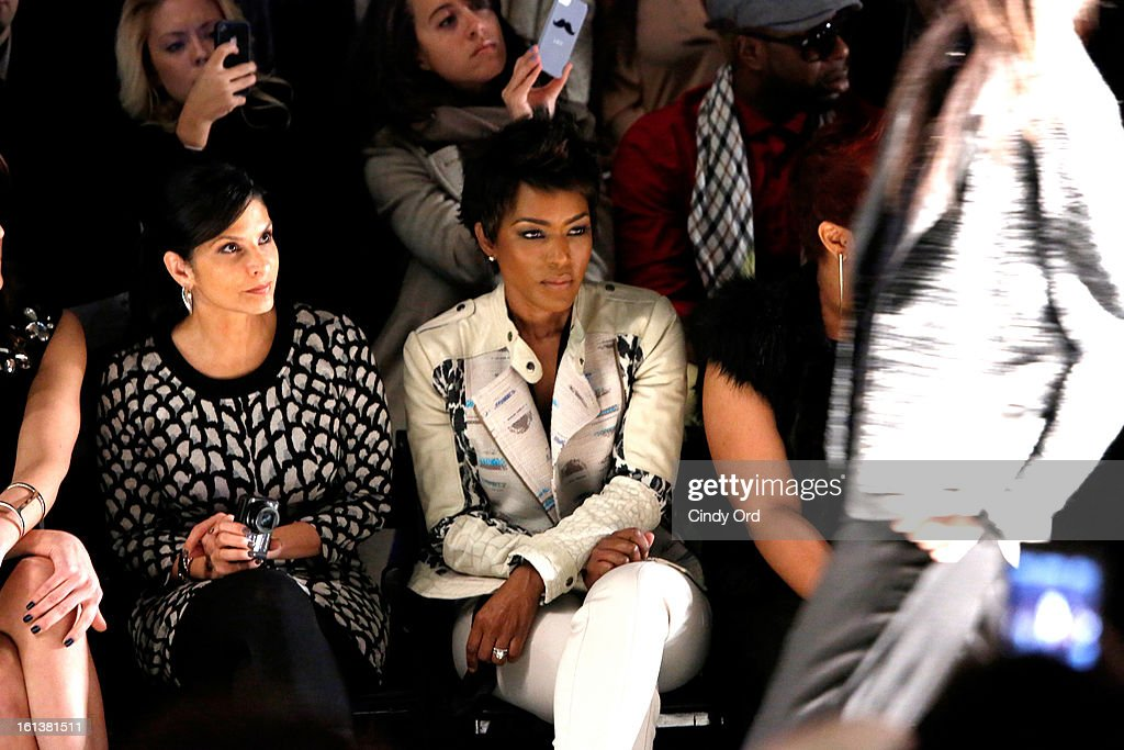 New York television personality Darlene Rodriguez and actress <a gi-track='captionPersonalityLinkClicked' href=/galleries/search?phrase=Angela+Bassett&family=editorial&specificpeople=171174 ng-click='$event.stopPropagation()'>Angela Bassett</a> attend the Tracy Reese Fall 2013 fashion show during Mercedes-Benz Fashion Week at The Studio at Lincoln Center on February 10, 2013 in New York City.