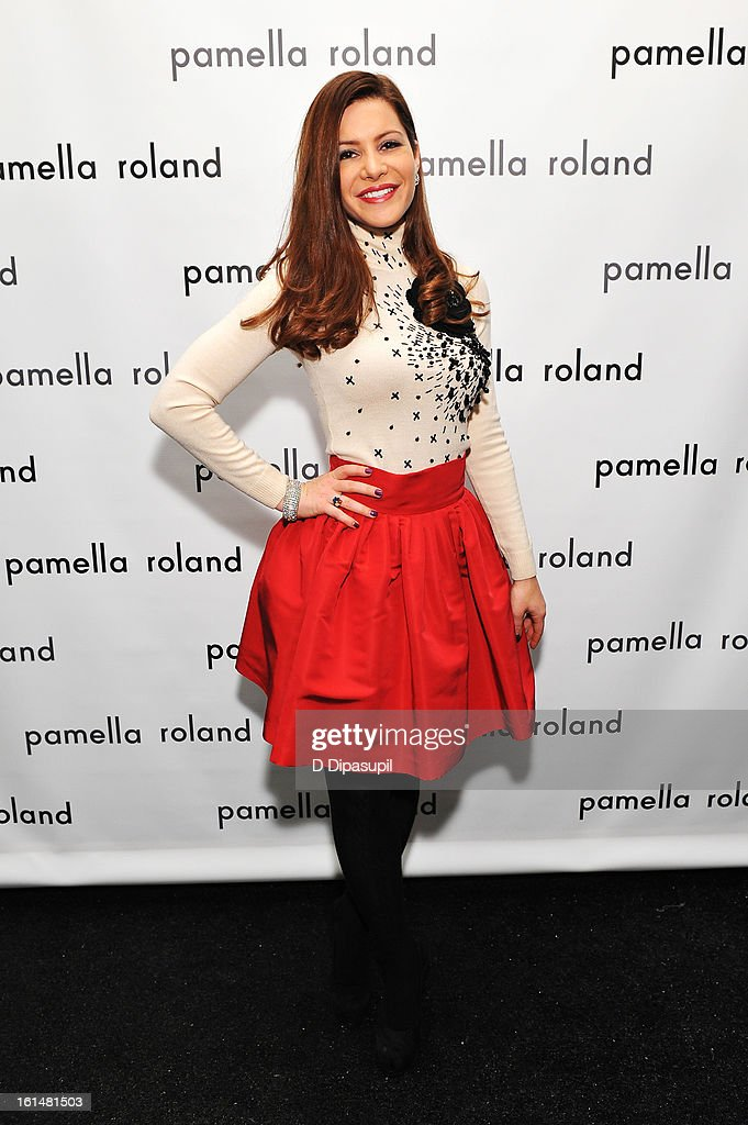 New York television personality Lynda Baquero poses backstage at the Pamella Roland Fall 2013 fashion show during Mercedes-Benz Fashion Week at at The Studio at Lincoln Center on February 11, 2013 in New York City.