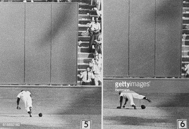 The Catch Of The Season Willie Mays The Amazing One is shown as he made one of the most spectacular catches in World Series history in the 8th inning...