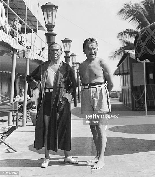 New York Theatrical Men at Miami Beach Miami Beach Florida Away from the bustle and turmoil of New York's theatrical world these two famous producers...