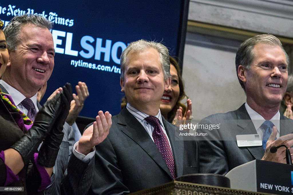 New York Times Chairman and Publisher Arthur Sulzberger Jr rings the closing bell at the New York Stock Exchange during the afternoon of January 20...