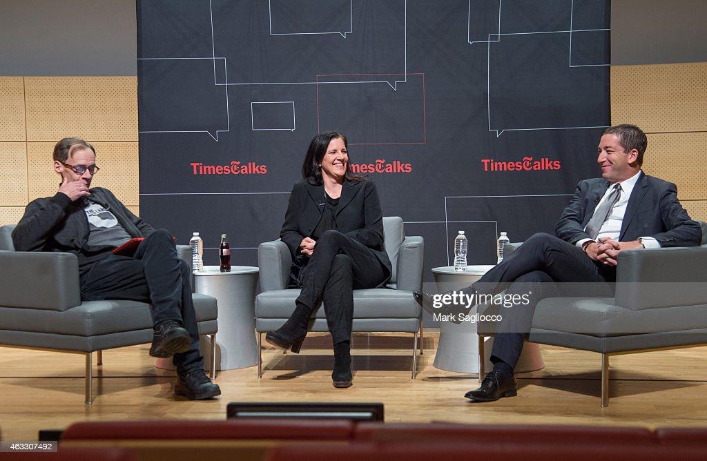 New York Times Columnist David Carr Filmmaker Laura Poitras and Journalist Glenn Greenwald attends the TimesTalks at The New School on February 12...