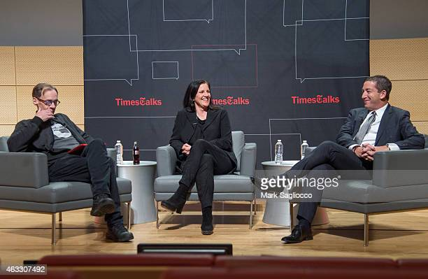 New York Times Columnist David Carr Filmmaker Laura Poitras and Journalist Glenn Greenwald attends the TimesTalks at The New School on February 12...