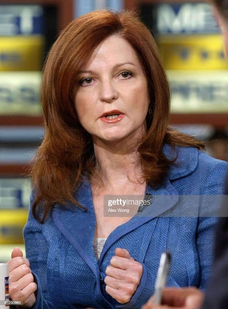 New York Times columnist Maureen Dowd speaks during a taping of 'Meet the Press' at the NBC studios May 25, 2008 in Washington, DC. Dowd discussed topics related to the presidential election in November, 2008.