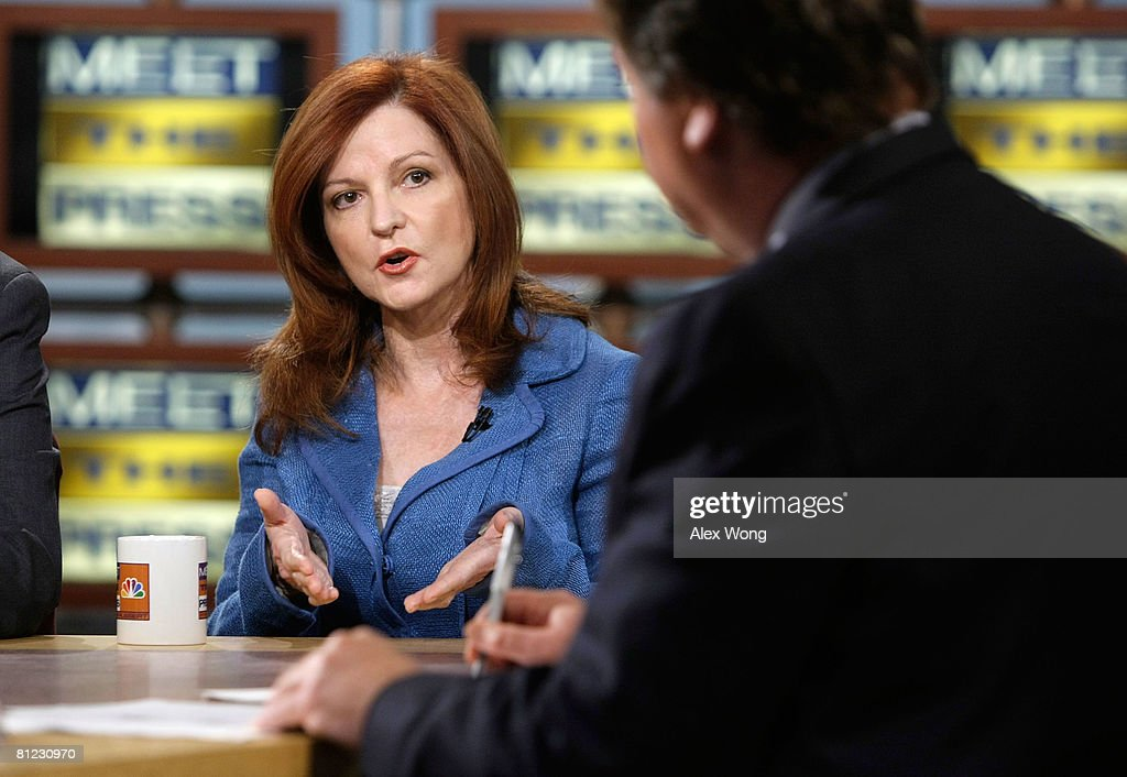 New York Times columnist <a gi-track='captionPersonalityLinkClicked' href=/galleries/search?phrase=Maureen+Dowd&family=editorial&specificpeople=704785 ng-click='$event.stopPropagation()'>Maureen Dowd</a> speaks during a taping of 'Meet the Press' at the NBC studios May 25, 2008 in Washington, DC. Dowd discussed topics related to the presidential election in November, 2008.