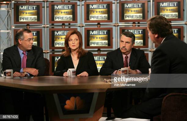 New York Times columnists David Brooks Maureen Dowd and Thomas Friedman speak with moderator Tim Russert on NBC's 'Meet the Press' during a taping at...