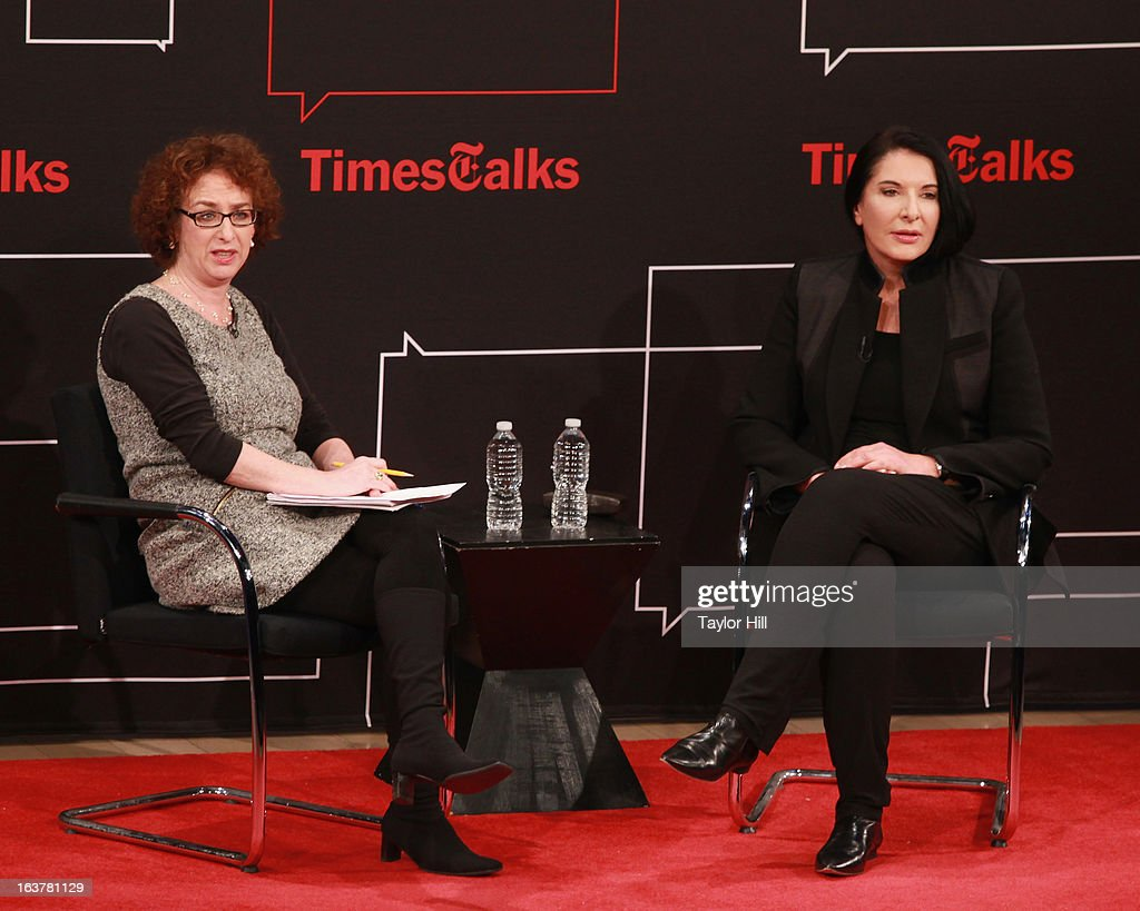 New York Times culture reporter Patricia Cohen interviews performance artist <a gi-track='captionPersonalityLinkClicked' href=/galleries/search?phrase=Marina+Abramovic&family=editorial&specificpeople=2315598 ng-click='$event.stopPropagation()'>Marina Abramovic</a> during their TimesTalk at TheTimesCenter on March 15, 2013 in New York City.