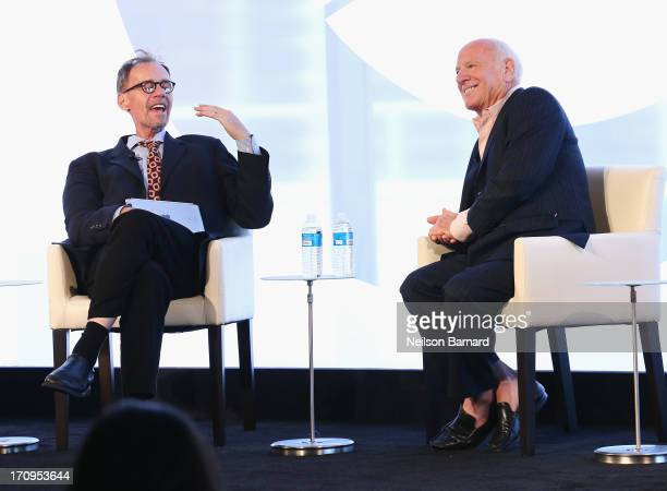 New York Times journalist David Carr speaks with Chairman and Senior Executive IAC and Expedia Barry Diller during the CEO Conversation Making New...