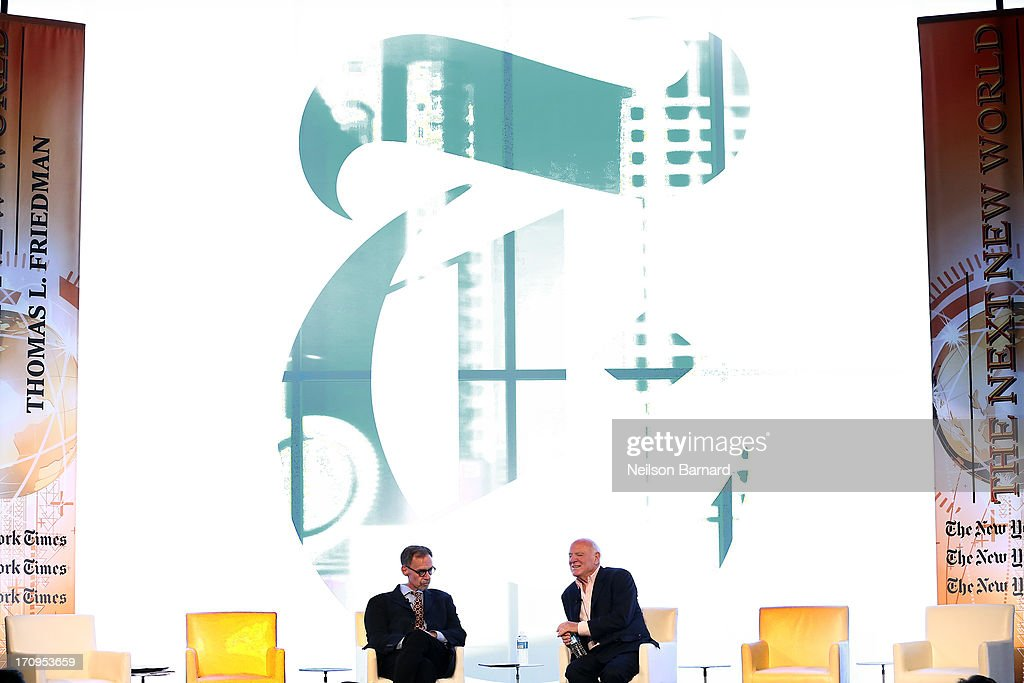 New York Times journalist David Carr speaks with Chairman and Senior Executive, IAC and Expedia, Barry Diller during the C.E.O. Conversation: Making New Media at The New York Times Global Forum with Thomas L. Friedman at the Metreon on June 20, 2013 in San Francisco, California.