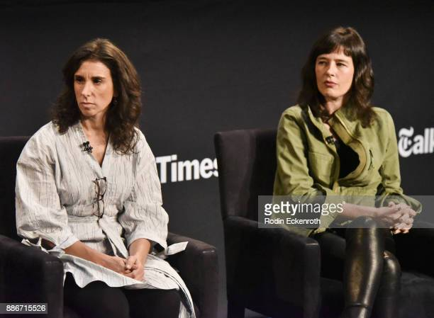 New York Times journalist Jodi Kantor and New York Times journalist Megan Twohey speak onstage at The Paley Center for Media on December 5 2017 in...