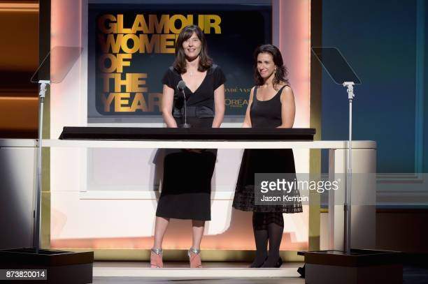 New York Times journalists Megan Twohey and Jodi Kantor speak onstage at Glamour's 2017 Women of The Year Awards at Kings Theatre on November 13 2017...