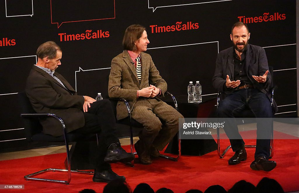 New York Times media columnist David Carr filmmaker Wes Anderson and actor Ralph Fiennes attend TimesTalk Presents An Evening With Wes Anderson And...