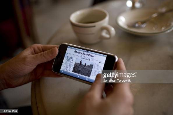 New York Times online front page seen on a PDA phone at Pastis restaurant May 2008 in New York City