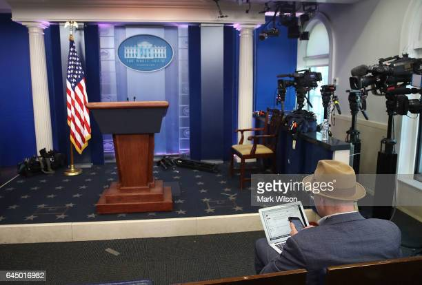 New York Times reporter Glenn Thrush works in the Brady Briefing Room after being excluded from a press gaggle by White House Press Secretary Sean...