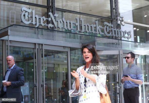 New York Times start a temporary strike against downsizing and dismissal plans of the NYT management outside of New York Times building in New York...