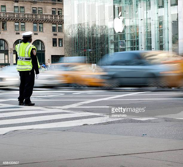 New York Traffic Cop on Fifth Avenue Near Apple Store