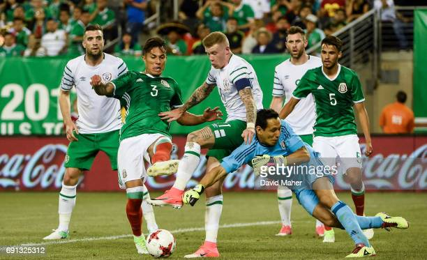 New York United States 1 June 2017 James McClean of Republic of Ireland in action against Carlos Salcedo and Rodolfo Cota of Mexico during the...