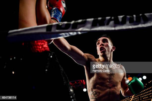 New York United States 17 March 2017 Michael Conlan in action against Tim Ibarra in their featherweight bout at The Theater in Madison Square Garden...