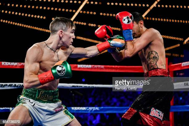 New York United States 17 March 2017 Michael Conlan left in action against Tim Ibarra in their featherweight bout at The Theater in Madison Square...