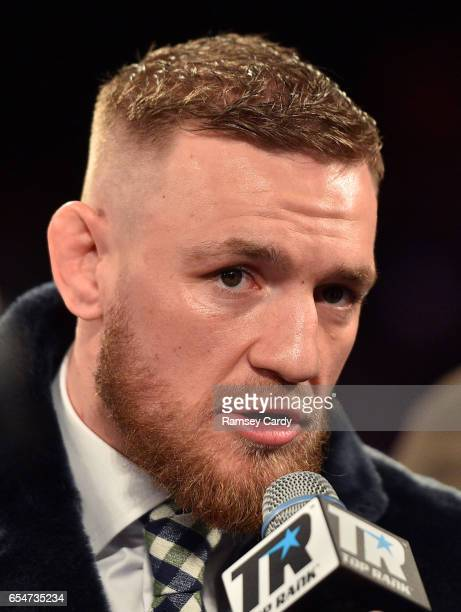 New York United States 17 March 2017 UFC Lightweight Champion Conor McGregor during an interview in The Theater in Madison Square Garden in New York...