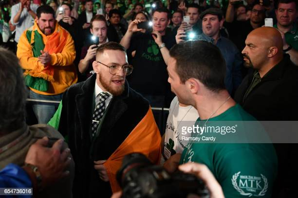 New York United States 17 March 2017 UFC lightweight champion Conor McGregor and Matthew Macklin ahead of Michael Conlan's fight at The Theater in...