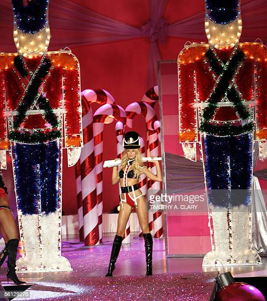 A model displays an outfit during the Victoria's Secret Fashion Show in New York 09 November 2005 The show will be televised on CBS on 06 December...