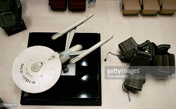 A model of the Starship USS Enterprise from the 'Star Trek' television and movie series stands 29 September 2006 at the entrance of Christie's in New...