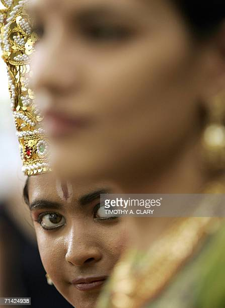 A young girl from the Kathak Ensemble waits to go onstage during the Summer in the Square 2006 Program in Union Square Park 12 July 2006 Kathak is...