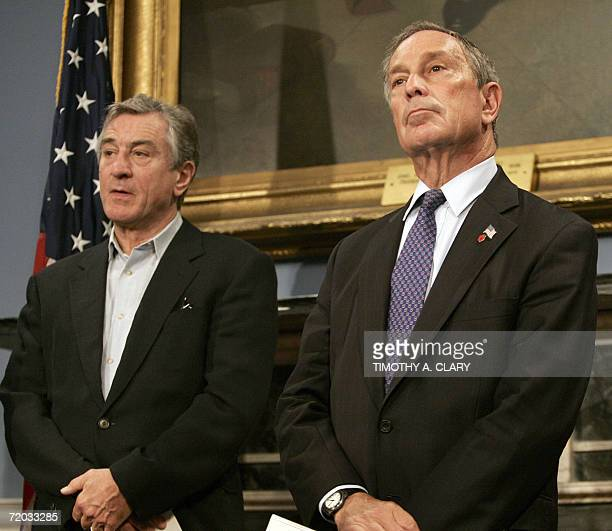 Actor and Tribeca Film Festival cofounder Robert De Niro and New York City Mayor Michael Bloomberg listen to questions during a news conference at...