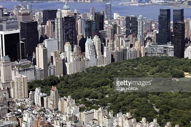 Aerial view of Manhattan buildings surrounding the south part of Central Park 01 July 2007 in New York City AFP PHOTO/Stan HONDA