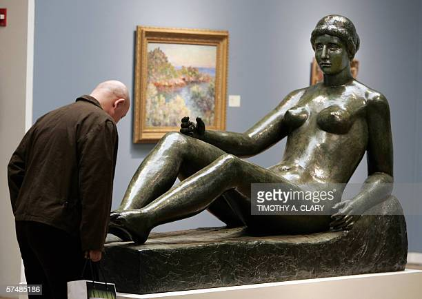 Aristide Maillol's 'Baigneuse Allongee Premier Etat Pour Monument a Port Vendres' is shown to the media during a press preview 28 April 2006 at...