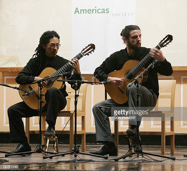 Brazilian musicians Joao Luiz and Douglas Lora play their repertoire of classic guitar music 29 March 2007 in the Queens Borough of New York The two...